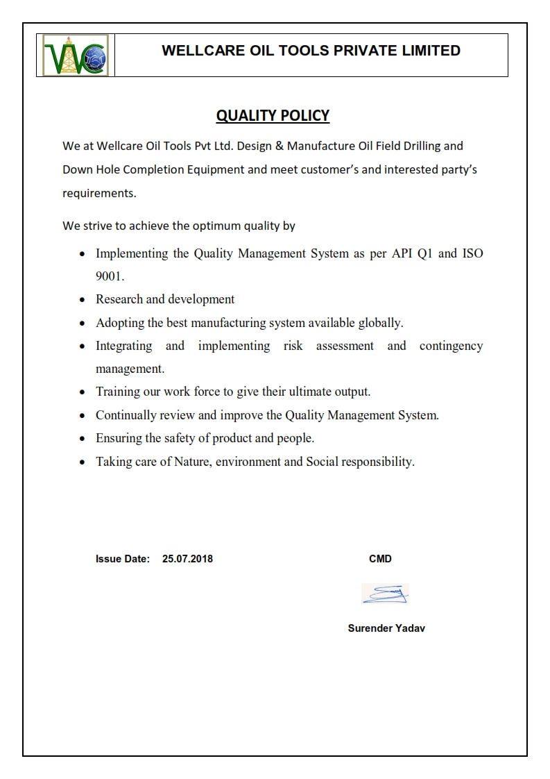 Wellcare Quality Policy